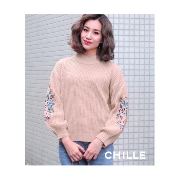 【CHILLE】刺繍ポイントボリュームスリーブニット