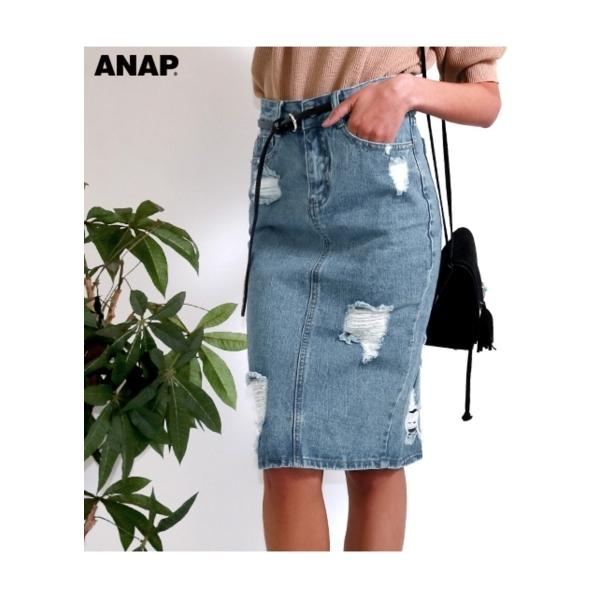 【ANAP】ハードダメージデニムスカート