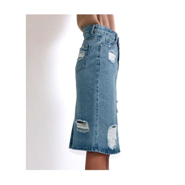 ハードダメージデニムスカート