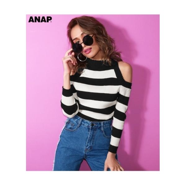 【ANAP】オープンショルダーリブニットトップス