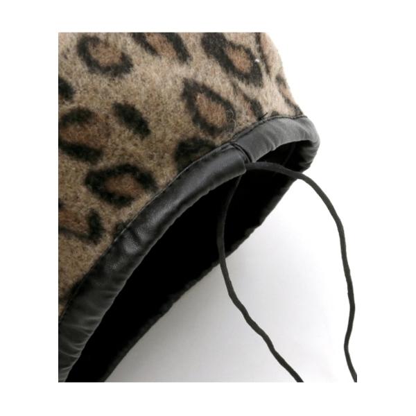 【ANAP】 レザーパイピングレオパードベレー帽