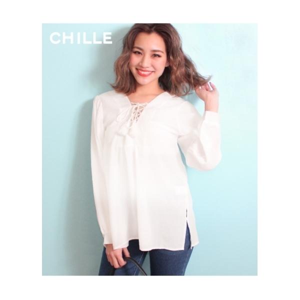 【CHILLE】フロントスピンドルスモックトップス