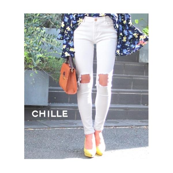 【CHILLE】ハイダメージホワイトスキニーパンツ