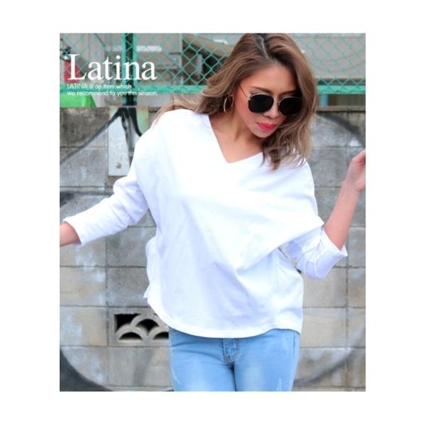 【Latina】バックライン入り両Vネックゆるトップス