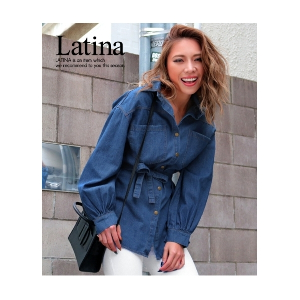 【Latina】共布ベルト付デニムシャツ