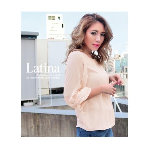 【Latina】シースルースリーブ7分袖トップス