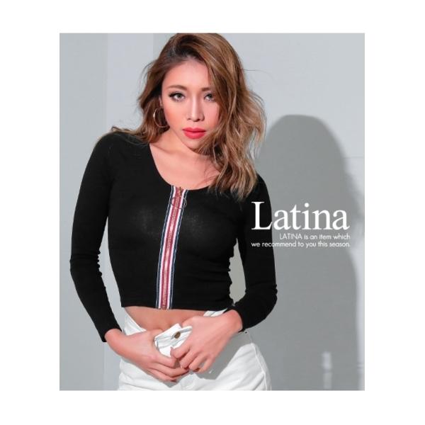 【Latina】リングZIPカラーライントップス