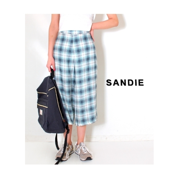 【Sandie anap】ガーゼチェックワイドパンツ