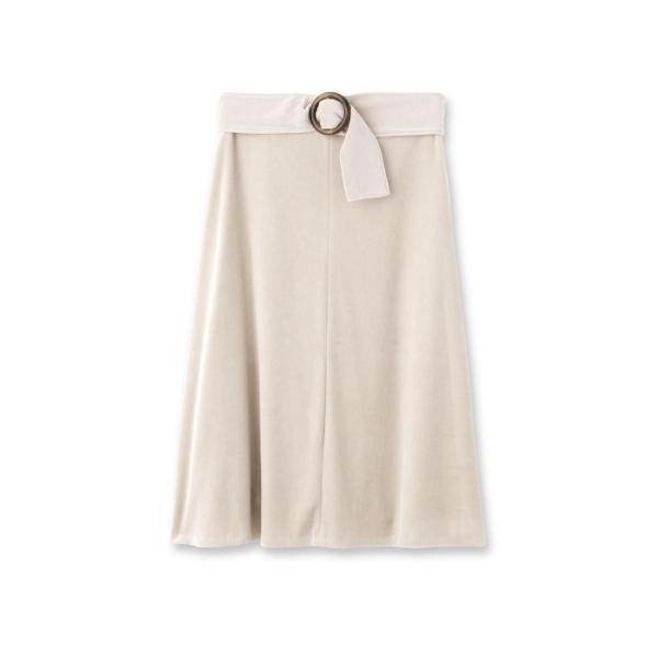 ベルト付きベロアフレアスカート