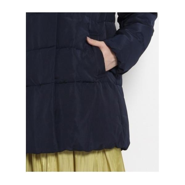 スタンドカラー中綿フーデットコート