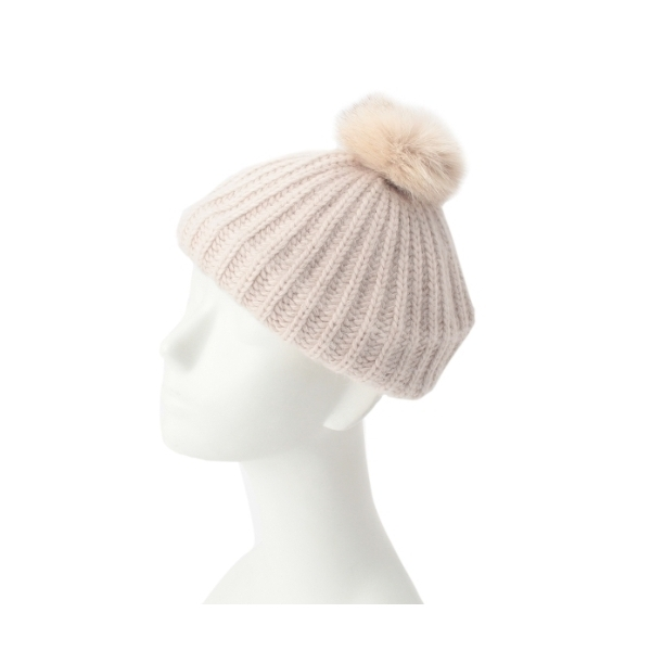 フォックスファーポンポンベレー帽