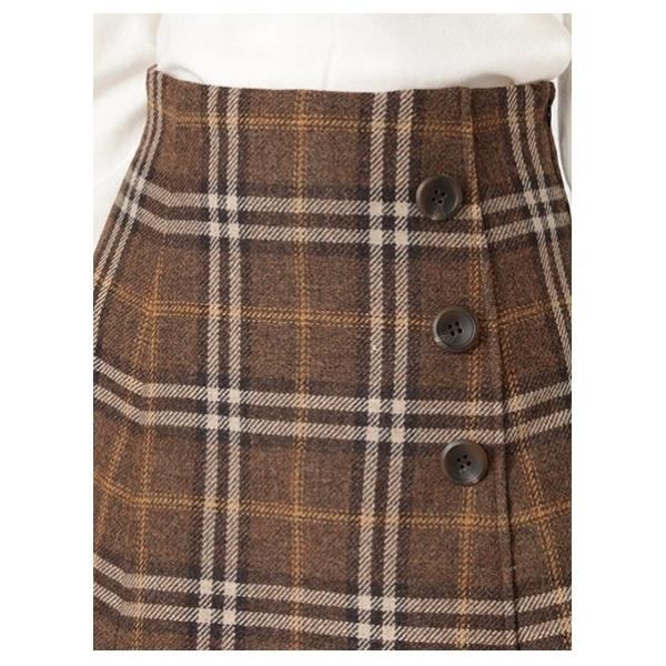 ウール混チェックフレアスカート