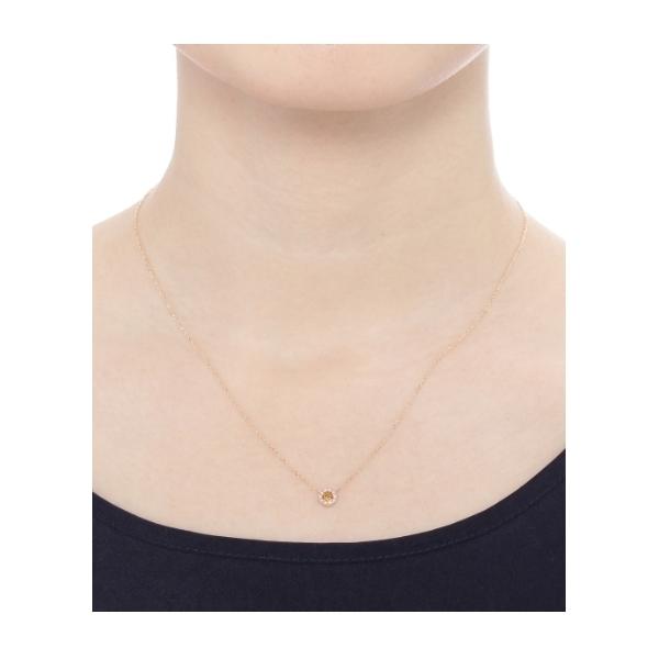 カラーストーン(シトリン)×メレダイヤ ネックレス