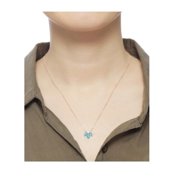 カラーストーン(ターコイズ×ダイヤ)ペアシェイプカボションネックレス