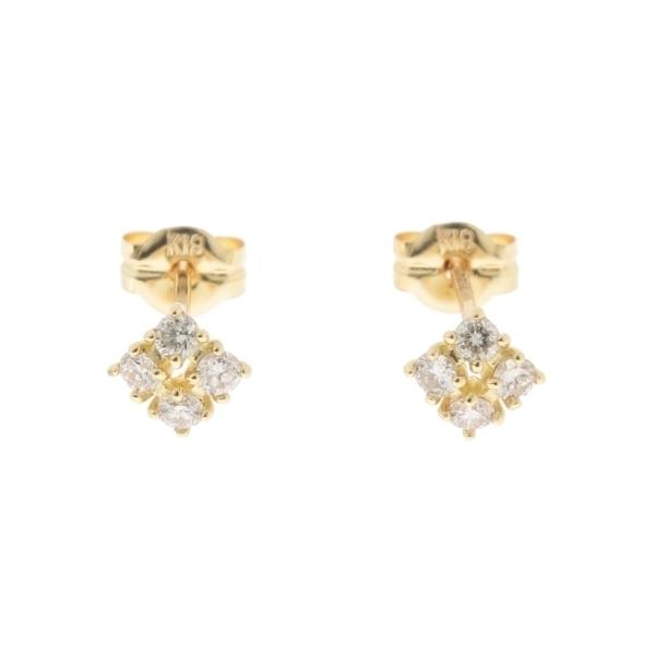 K18ダイヤモンド爪留4石 スタッドピアス