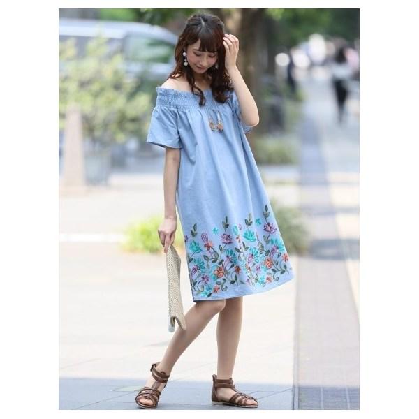 裾刺繍オフショルワンピース