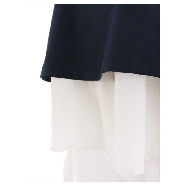 布帛シフォン付き半袖ブラウス