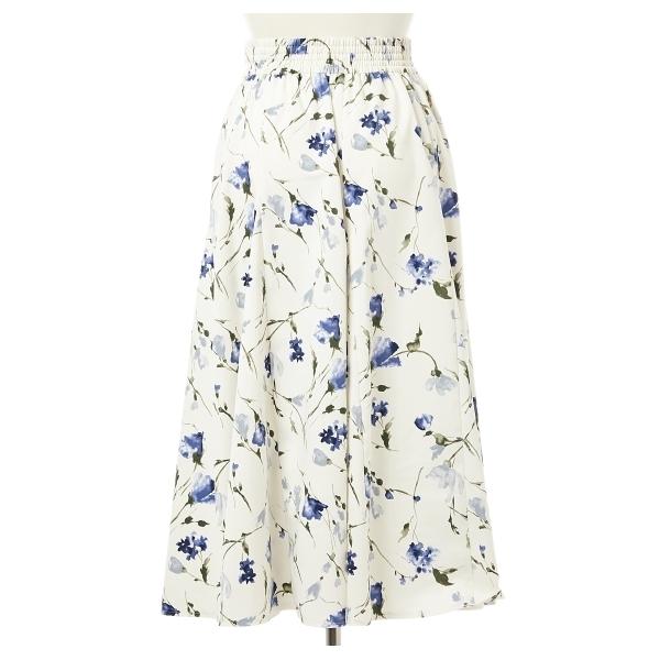 花柄サテンサーキュラースカート