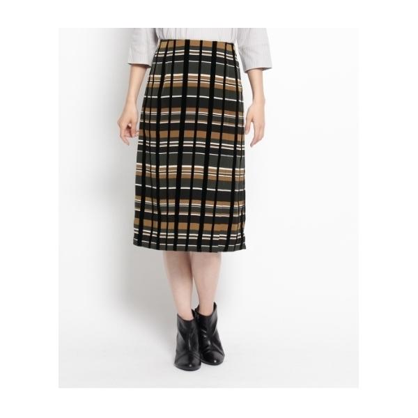 フロッキーチェックタイトスカート