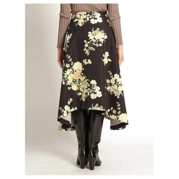 総柄プリント 変形ヘムロングスカート