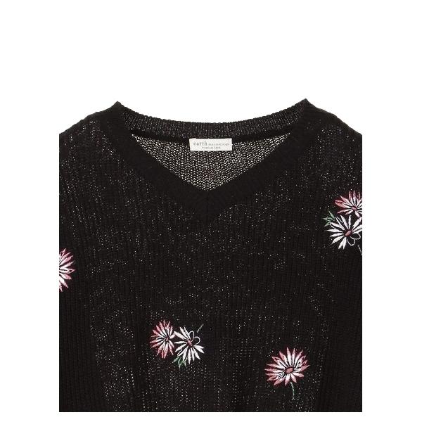 ・花刺繍畦ニットプルオーバー