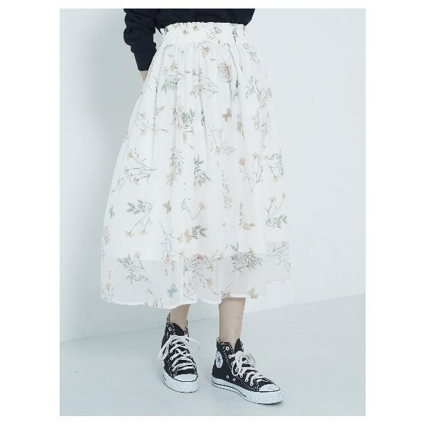 ・ボタニカルプリントオーガンジースカート