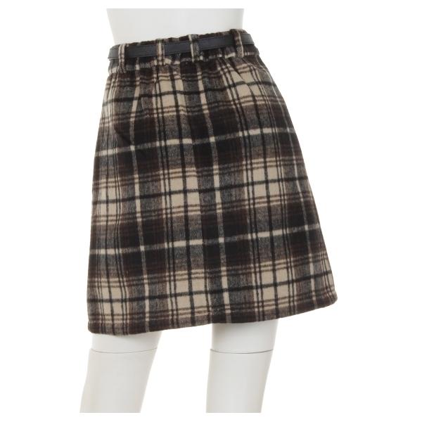 ベルト付シャギーチェック台形/スカート