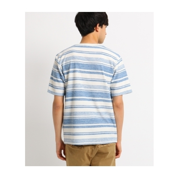 Tシャツ メンズ マルチボーダー クルーネックTシャツ