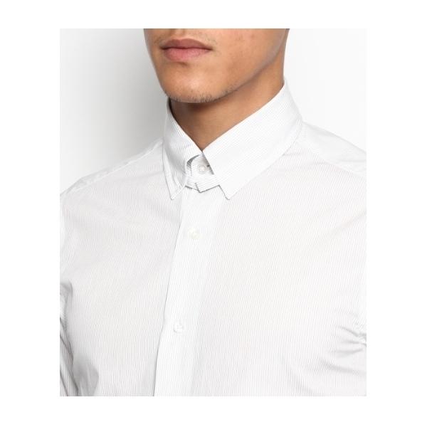 ピンストライプタブカラー ドレスシャツ