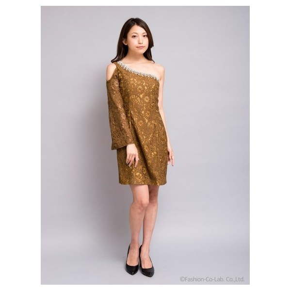ワンショルダーレースワンピース[DRESS/ドレス]