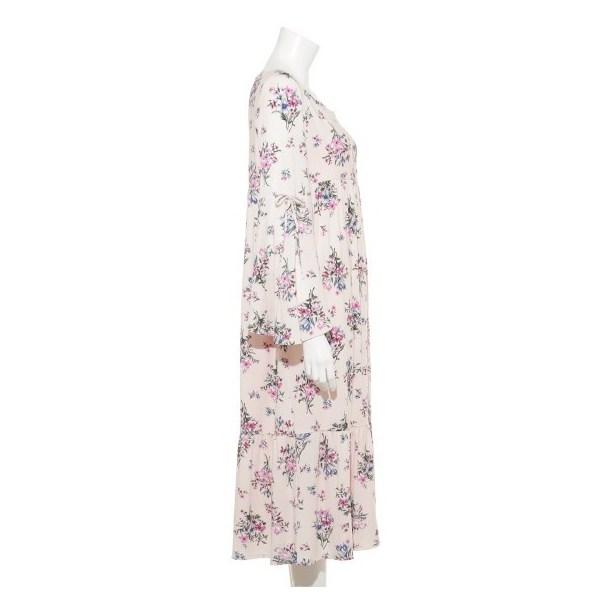 フラワーブーケロングスリーブドレス