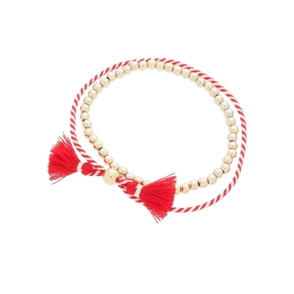 ロープ×メタル玉2連ブレスレット
