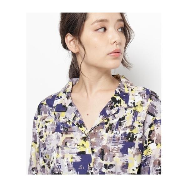 モザイクペイントマキシ丈シャツ
