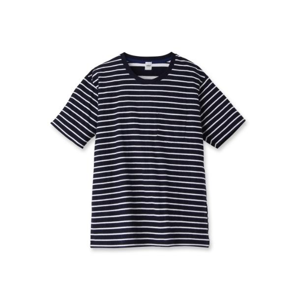 梨地ボーダーTシャツ [ メンズ Tシャツ ]