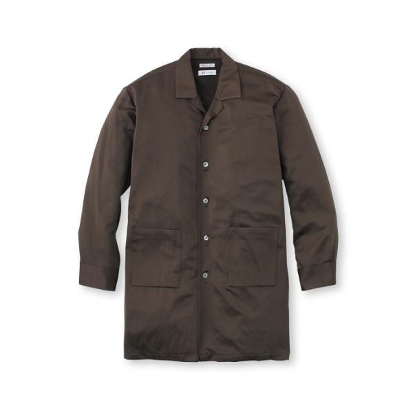 エステルサテン 開襟ロングシャツ