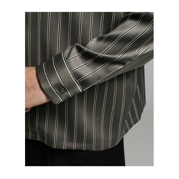 レジメンストライプオープンカラーシャツ