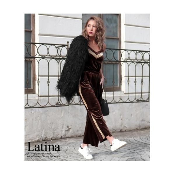 【Latina】バイカラーラインベロアキャミオールインワン