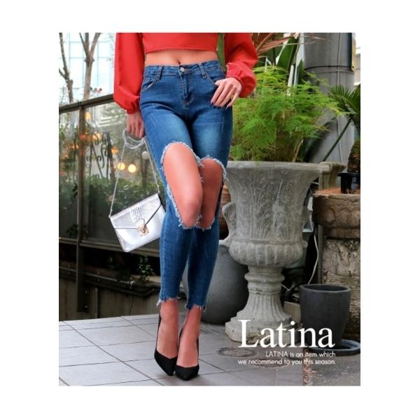 【Latina】ニークラッシュオープンストレッチデニム