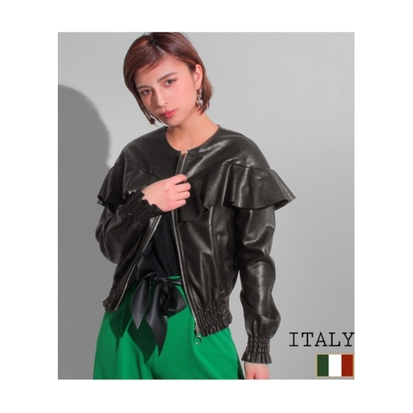 【Settimissimo】ITALY フリルデザインエコレザーブルゾン