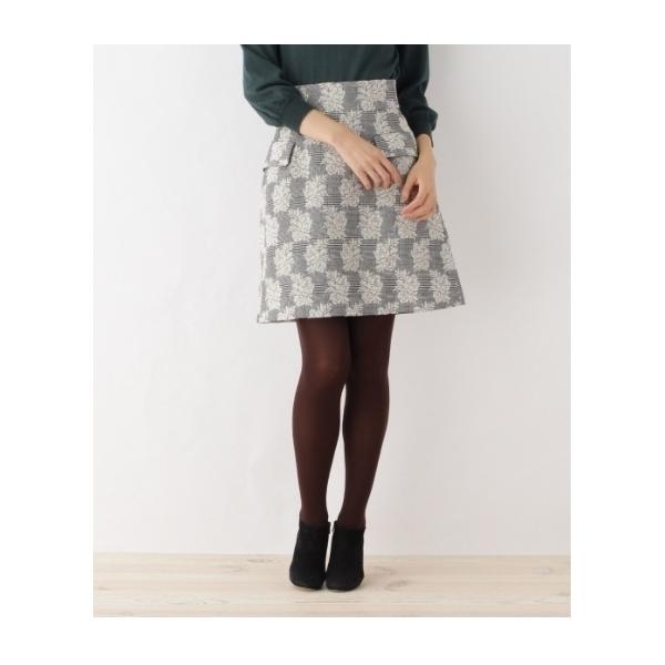 【SS・Lサイズあり チェック×フラワー柄スカート】