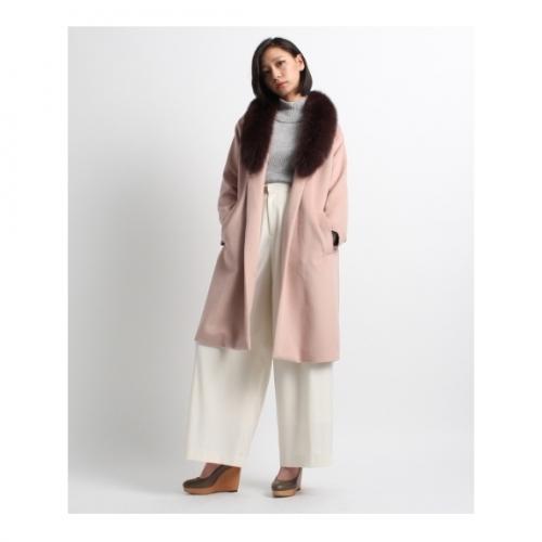 ファー衿配色コート