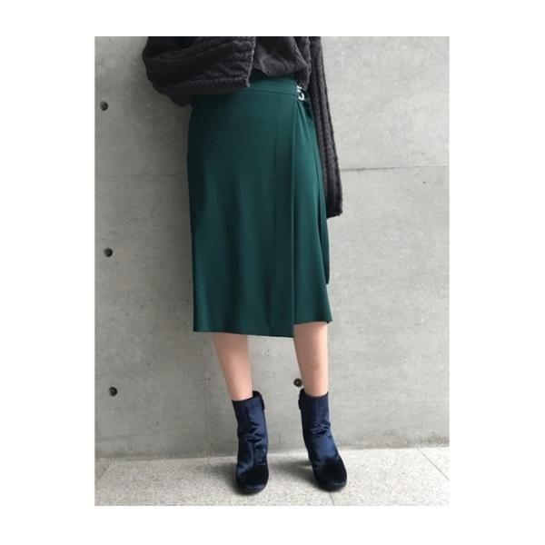 【洗える】ダブルベルトラップスカート
