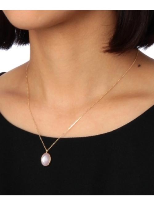 ピンク蝶貝×クォーツオーバル ネックレス