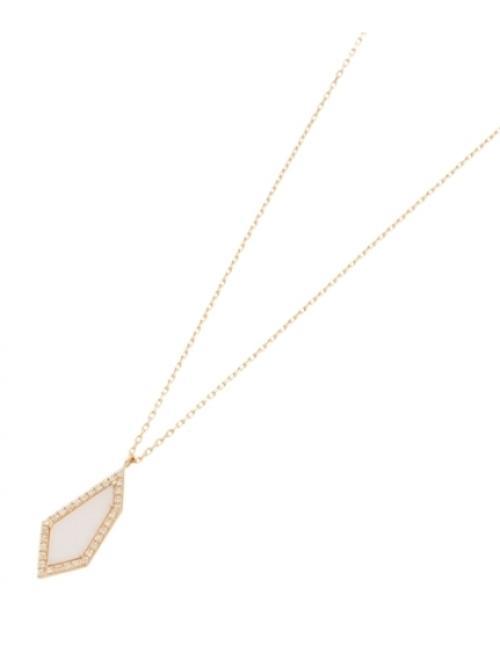 カラーストーン(ホワイトカルセドニー×ダイヤ)平石ネックレス大