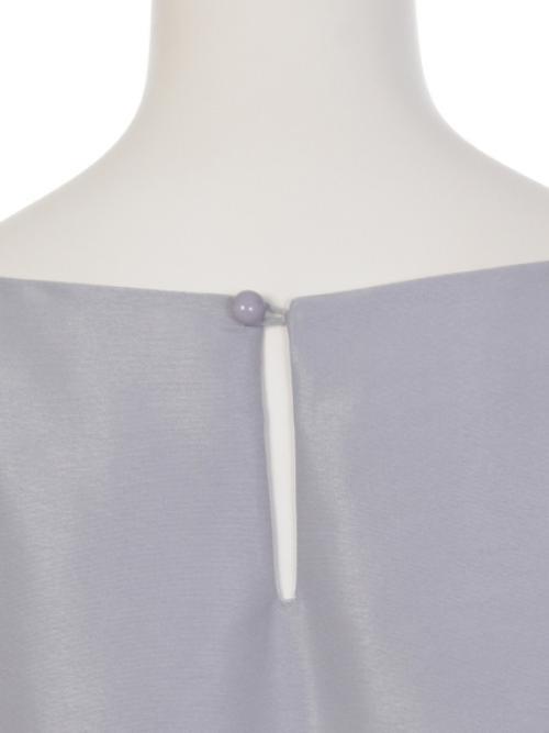 ネックレス付きグログランxフラワージャガードプリント配色ワンピース