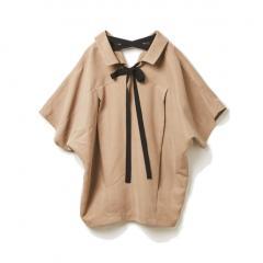 フレンチスリーブバックリボンシャツ