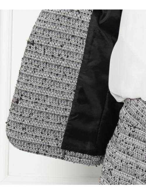 ノーカラーツィードジャケット