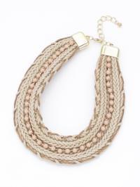 三つ編みビーズ太ネックレス