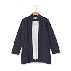 裾レースブラウス+七分袖トッパーカーディガン