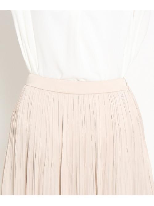[L]消しプリーツサテンスカート